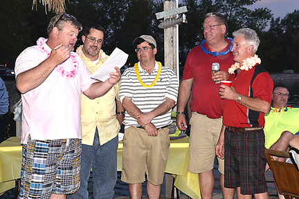 Club President Lion Jeff Glass presents Lions Dan Skidds, Kevin Nevin, Andy Dammeir and Mark Mancini with their officers positions for the 2015-2016 Lionistic Year.
