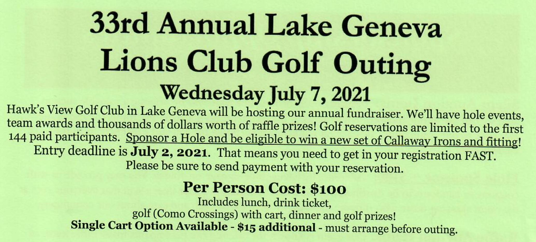 33rd Annual Lake Geneva Lions Golf Outing